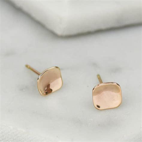 Handmade Stud Earrings - handmade solid gold concave square stud earrings by ruby