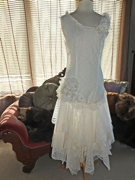 1920s flapper wedding dresses flapper 1920s wedding dress handmade lace by