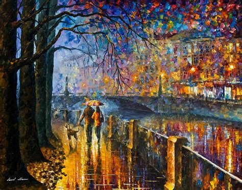 painting impressionism modern large original alley by the river palette knife modern landscape