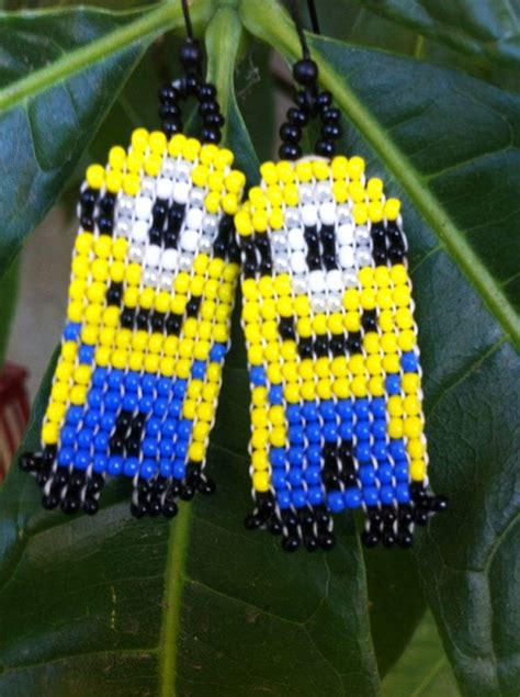 minion bead pattern minion inspired beaded earrings