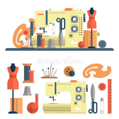 design elements in fashion sewing machine accessories for dressmaking and handmade