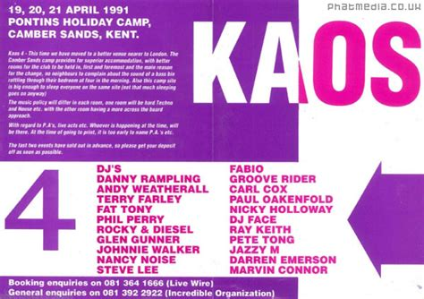Kaos M N P kaos weekender 1991 4 house club flyers