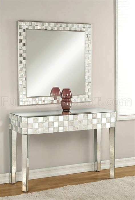 nasa console table mirror set   mirrored pearl acme