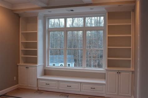 built in bench bookcases custom home finish