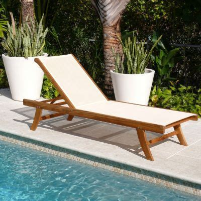 teak outdoor chaise lounge  ivory mesh sling inf