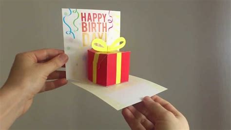 diy 3d birthday card template 3d pop up birthday present 0021 birthday card