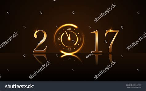new year countdown clock happy new year background magic gold stock vector