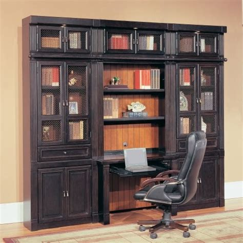 Parker House Oxford Library Wall Bookcase With Writing Desk And Bookshelves