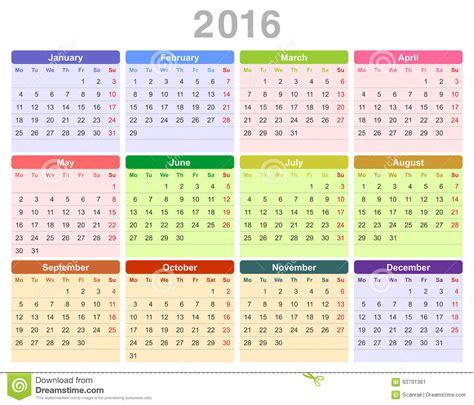 Calendrier Lundi Calendrier Annuel De 2016 Ans Lundi D Abord Anglais