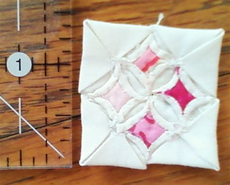 miniature cathedral window quilt block by