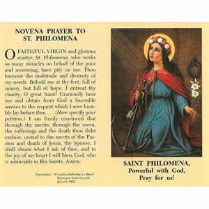 St philomena novena prayer card at mary immaculate queen centermary