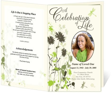 memorial handout template program template memorial service program and memorial