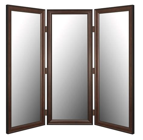 Glass Panel Room Divider Brown Polished Wooden Frame Room Partition With Folding Style And Three Frosted Glass
