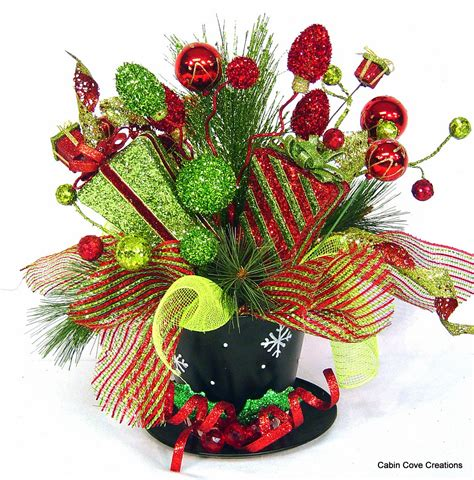 top hat centerpiece floral arrangement christmas holiday red