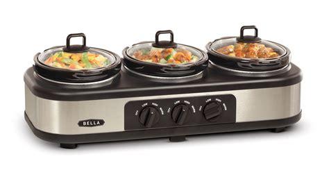 bella kitchen appliances bella slow cooker stainless steel 3 x 1 5qt appliances