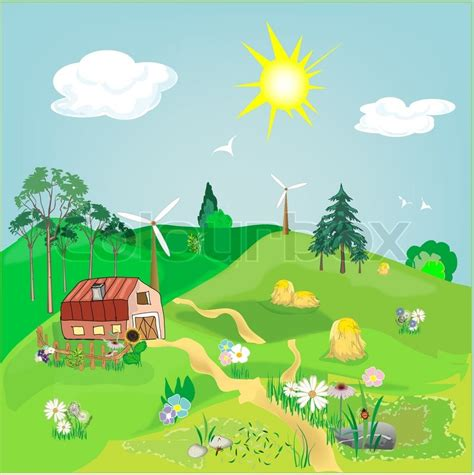 art design village farm vector cartoon stock vector colourbox