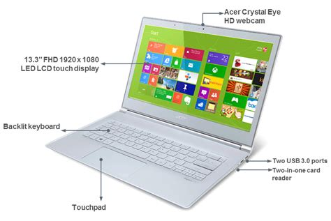 Laptop Acer Slim Aspire S7 391 acer aspire s7 391 13 3 inch laptop white intel i5 3337u 1 8ghz processor 4gb ram
