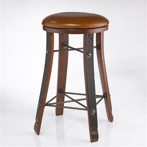 bar stool leather seat vintage oak wine barrel round bar stool with leather seat