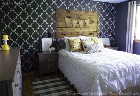 wall stencils for bedrooms stencils makeover your guest room into a gorgeous get away