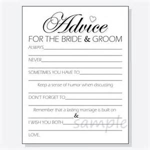 Advice To The Bride And Groom Cards Diy Advice For The Bride Amp Groom Printable Cards For A Shower