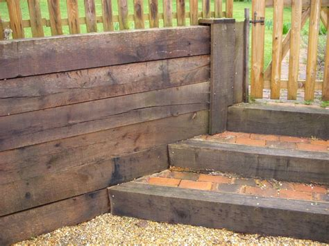 New Oak Railway Sleepers by Steps Retaining Wall From New Oak Railway Sleepers