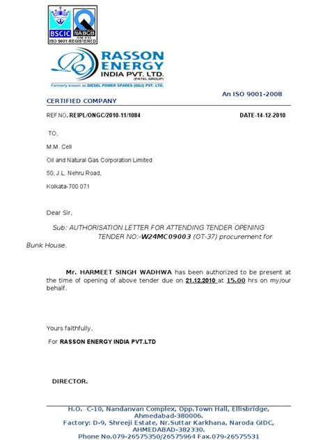 vendor authorization letter format authority letter for attending tender