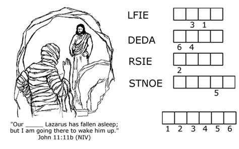 coloring page jesus and lazarus jesus raises lazarus from the dead word jumble