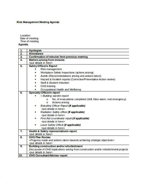 meeting template agenda 10 management meeting agenda templates free sle