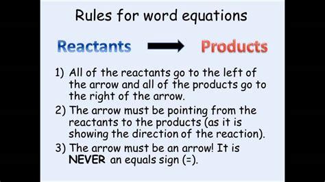 ks chemistry writing word equations youtube