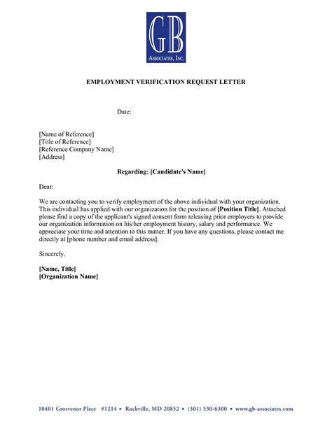 cover letter employment verification sle reference letter from employer for apartment