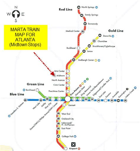 marta station map marta and midtown atlanta