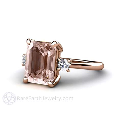 morganite engagement ring emerald three with