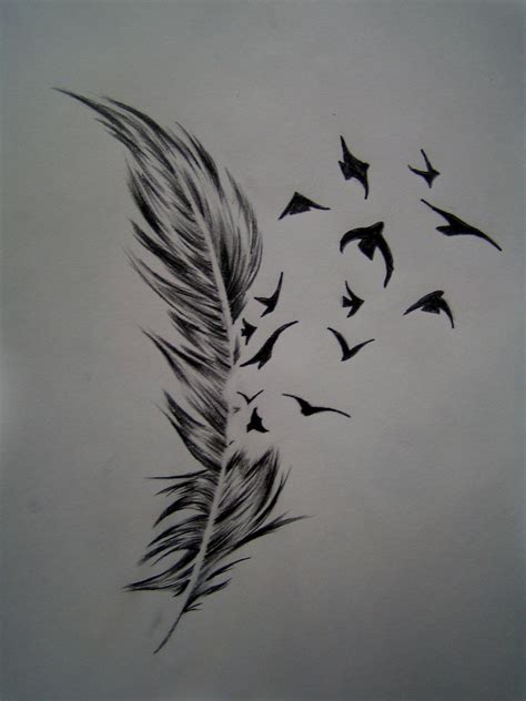 feather tattoo breaking into birds feather and birds by frontside92 on deviantart