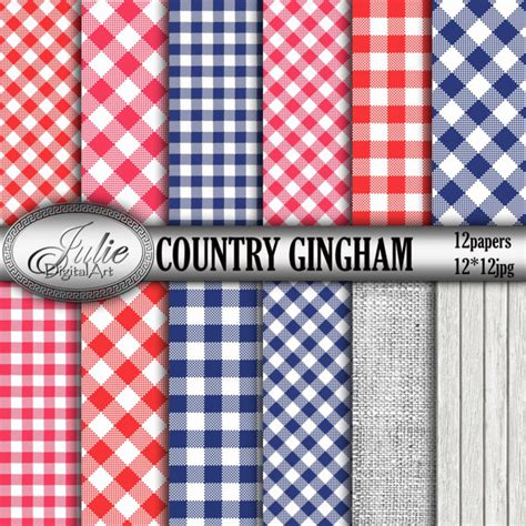 gingham digital paper picnic blue navy and country gingham digital papers blue picnic table