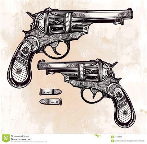 tattoo gun vintage vintage ornate pistol illustration stock vector image