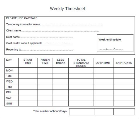 10 Weekly Timesheet Templates Sle Templates Weekly Timesheet Template For Numbers