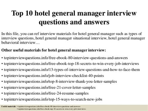 top 10 hotel general manager questions and answers