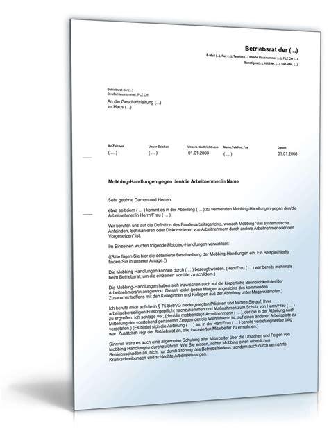 Musterbriefe Geschaeftsbriefe aufforderung arbeitgeber wegen mobbing muster zum