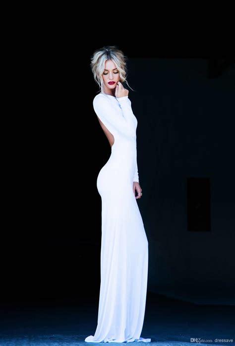 White Elegan new prom dresses bateau sleeves sheath backless floor length white evening