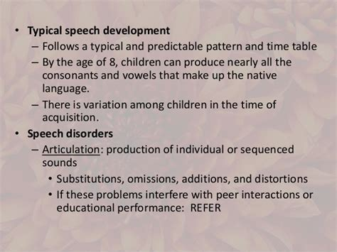 pattern of language impairment communication disorder sped