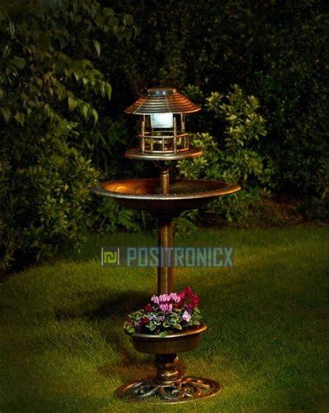 Hello Garden Light With Planter by Bronze Solar Powered 3 In 1 Garden Light L Bird Bath