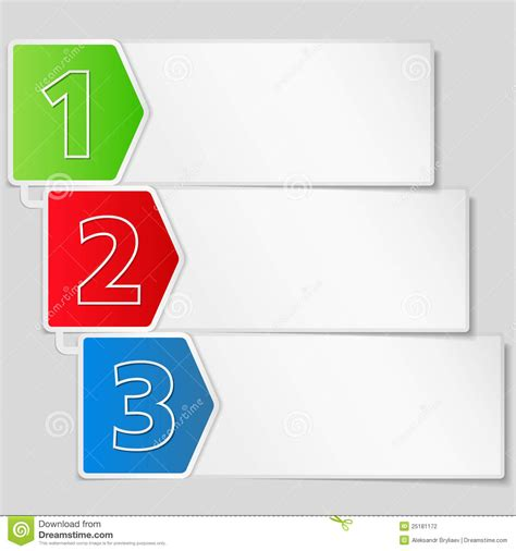 Steps In Paper - paper banner with three steps stock photography image