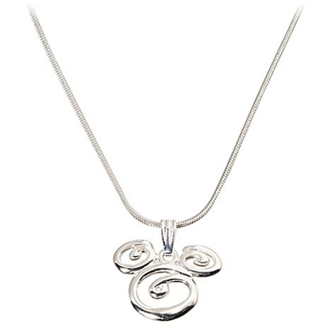 disney necklace sterling silver swirl mickey mouse