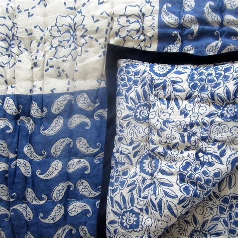 block printed blue rajastani quilt by the fairground