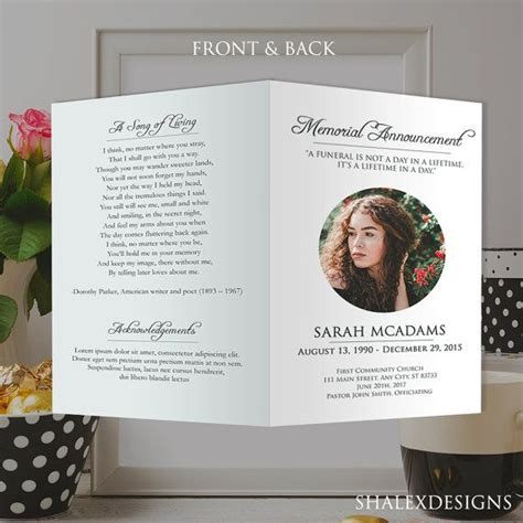 template for memorial service card 25 best ideas about memorial cards on funeral