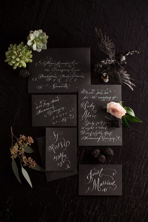bold dramatic blush  black wedding ideas