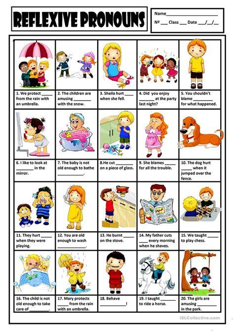 reflexive pronouns key worksheet free esl printable