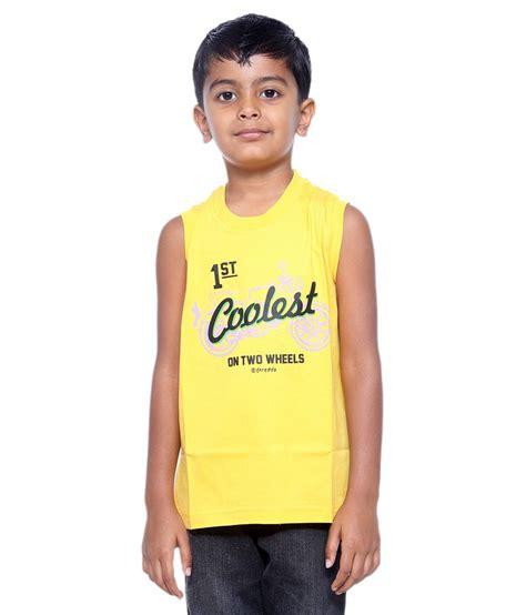 Boogybaby Sleeveless Boy 9 12 threadz sleeveless printed boy s t shirt yellow buy