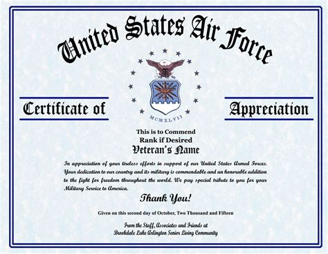 air certificate of appreciation template certificate of appreciation template templates