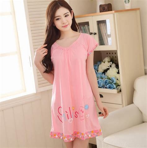 Dress Wanita Size S M L Xl Grosir Murah Blouse Dress Ib019 sleepwear cotton print nightgown for sleeping dress letter nachtjapon